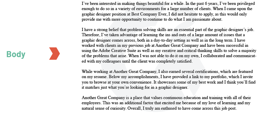 graphic design cover letter body