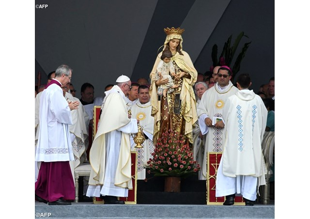 Pope Francis incenses an image of the Virgin Mary during Mass in Villavicencio, Colombia - AFP