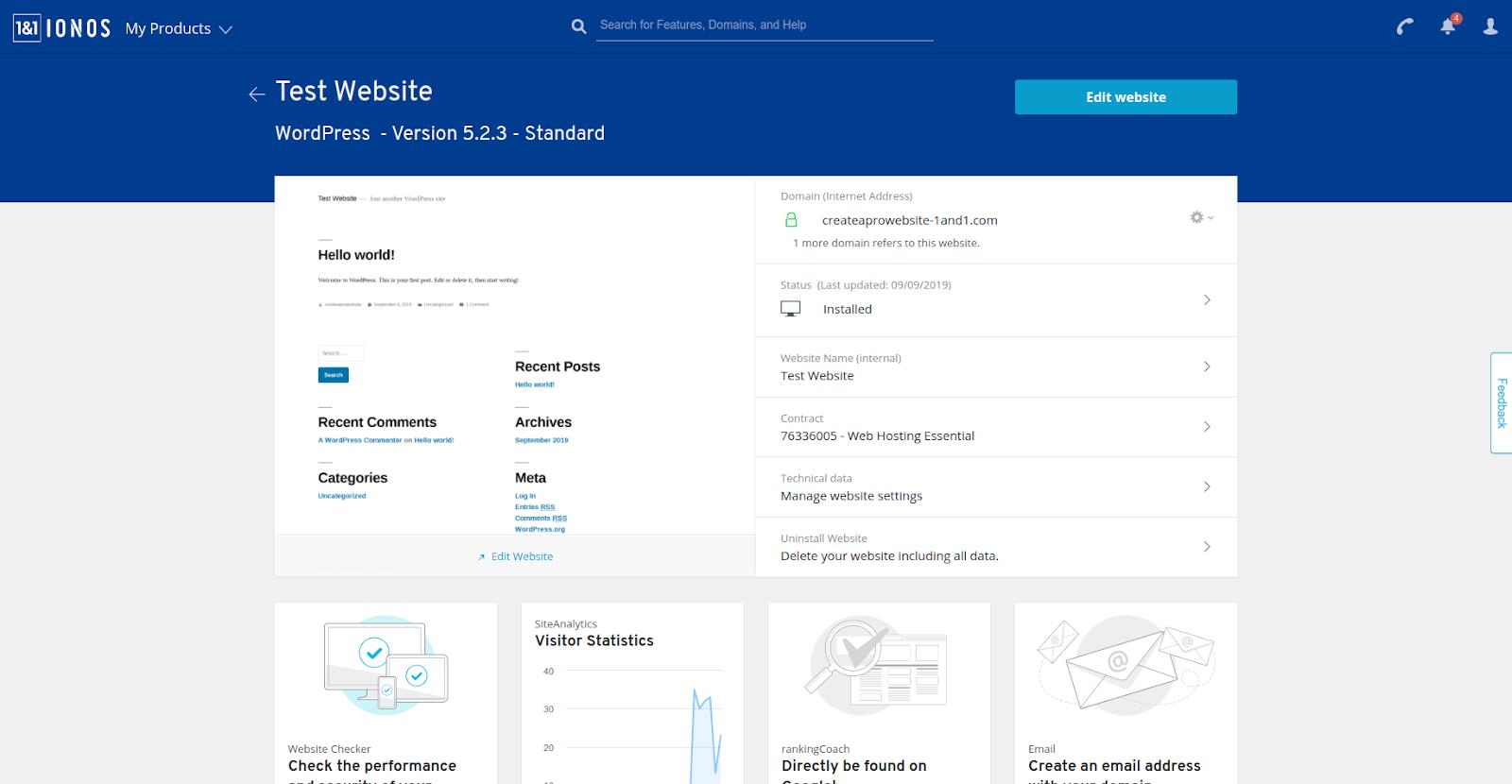 1&1 hosting management interface