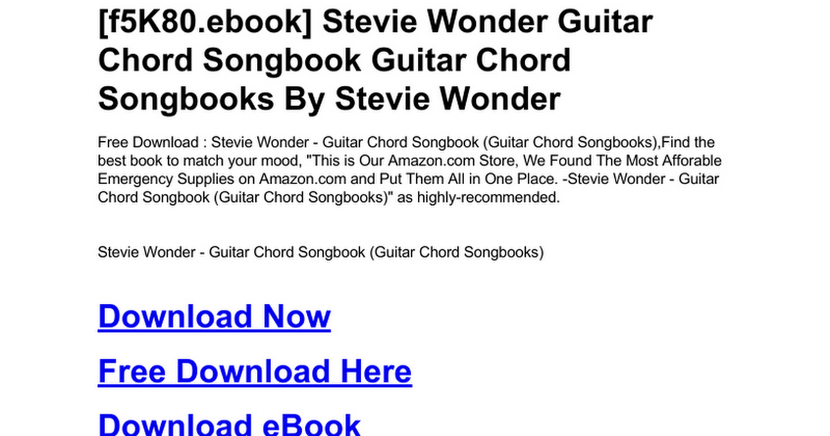 Stevie Wonder Guitar Chord Songbook Guitar Chord Songbooksc