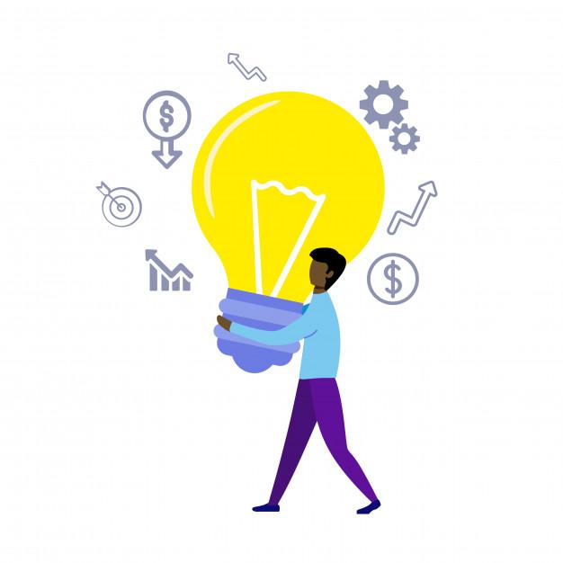 ilustração de um homem segurando uma lâmpada