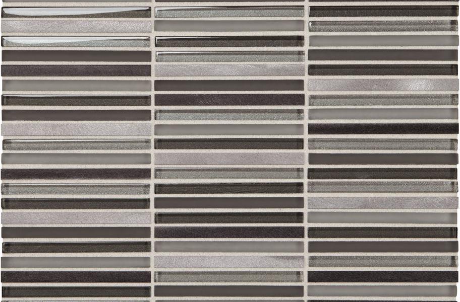 metal and glass backsplash tile