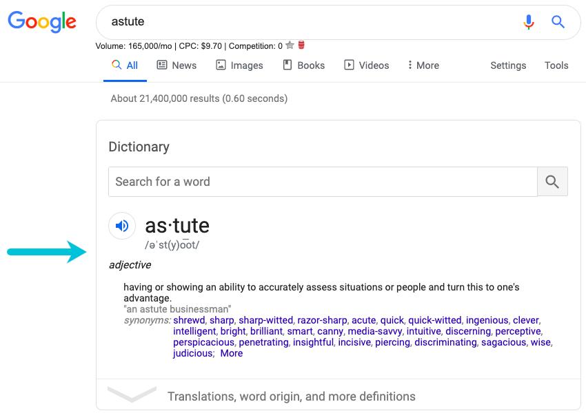 google answer box example