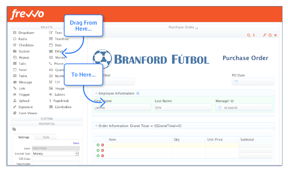 Customize the Pre-Built Purchase Order Form
