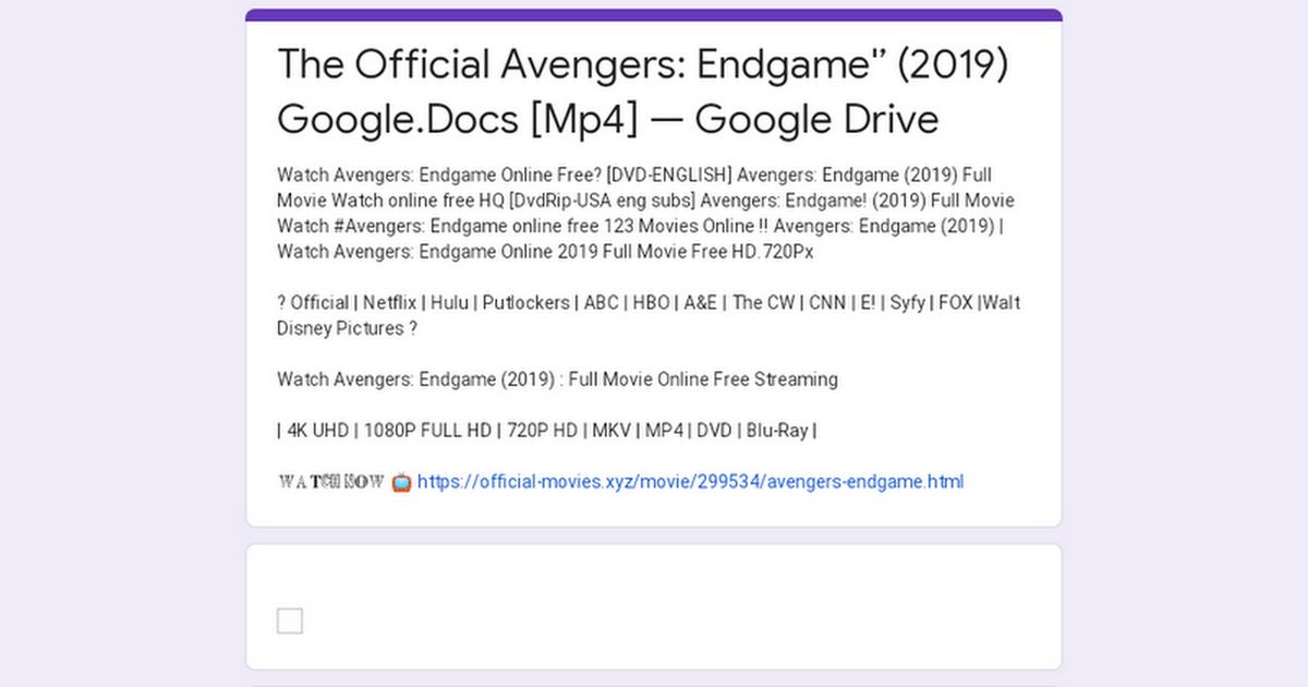 Avengers Endgame Google Drive Mp4
