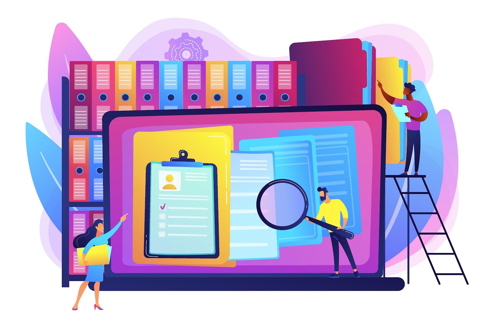 HR reviewing resume  illustration