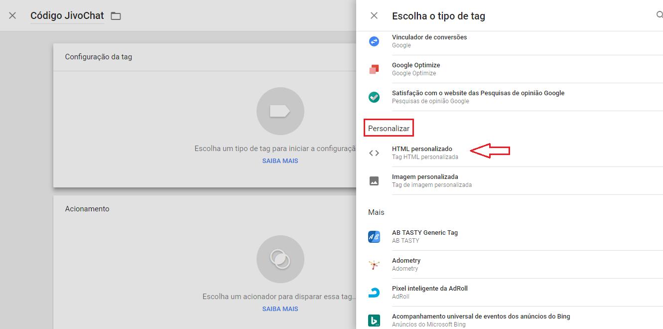 instalar jivochat via tag manager