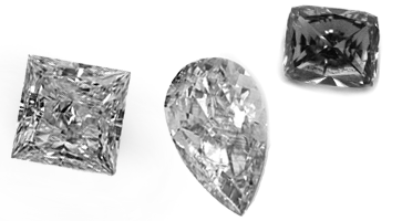 Gray diamonds of different shapes, exemplary view