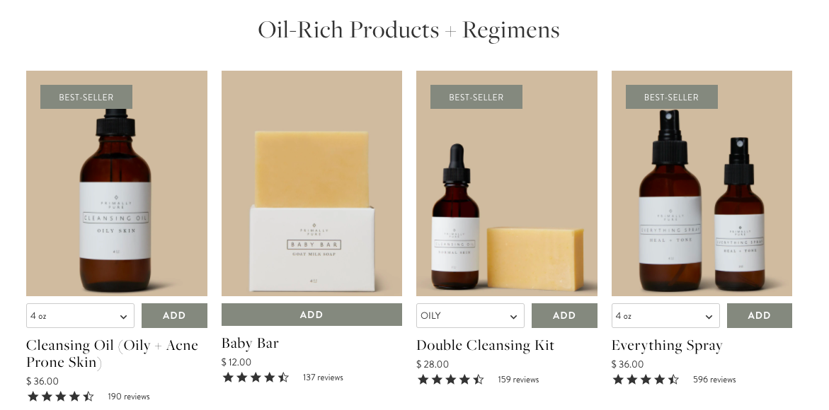 Primally Pure oil-rich products