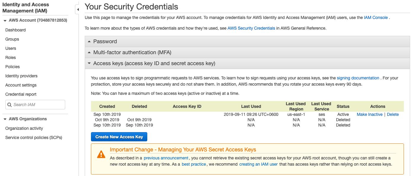 click Create New Access Key.