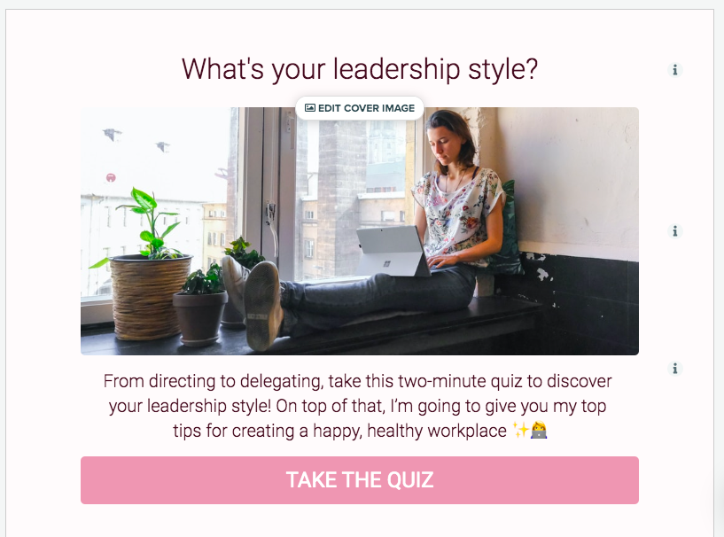 cover page for what's your leadership style quiz