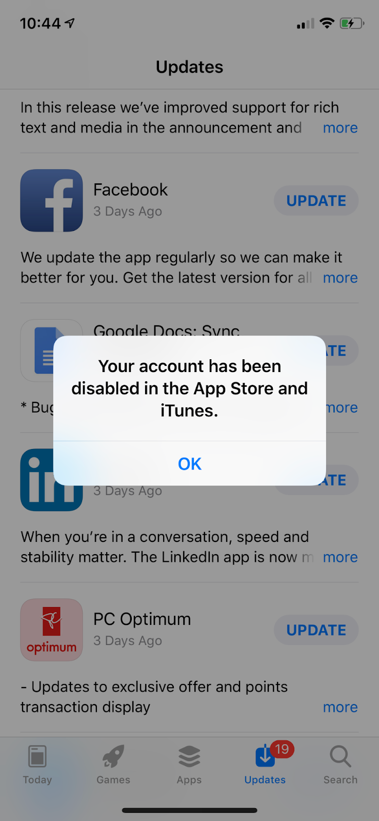 Notification that your account has been disabled in the App Store and iTunes