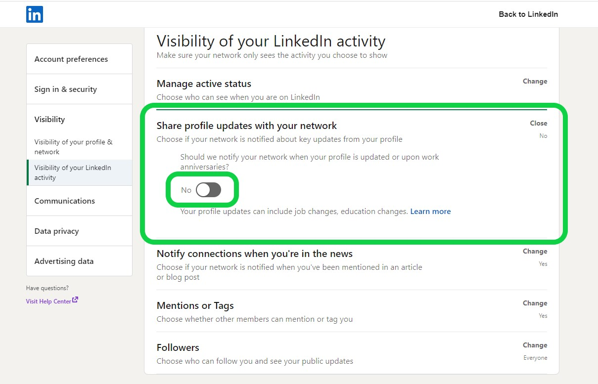 How to Update LinkedIn Profile Without Notifying Contacts