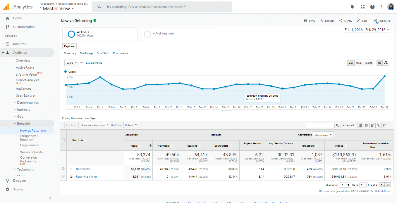 new visitor vs old google analytics