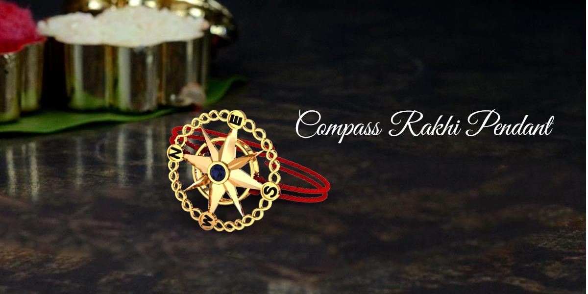 compass rakhi pendant