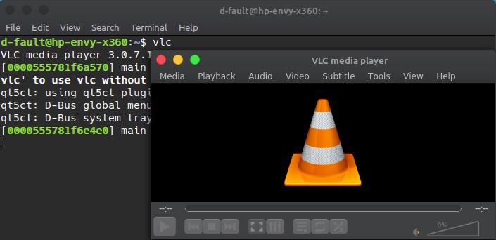 launching vlc media player using terminal