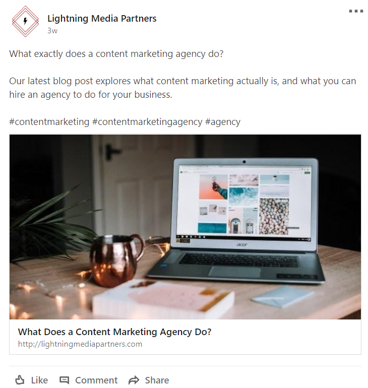 Screenshot of Lightning Media Partners LinkedIn post promoting a recent blog post