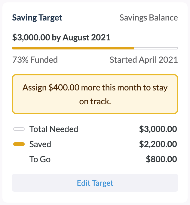 Set targets to help you stay on track with spending and saving.