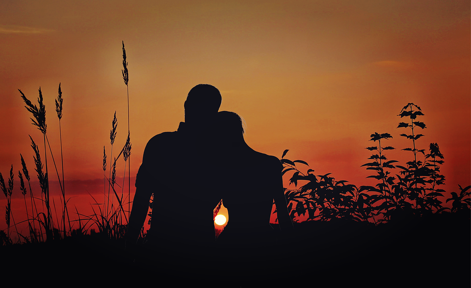 Lovers watching a sunset
