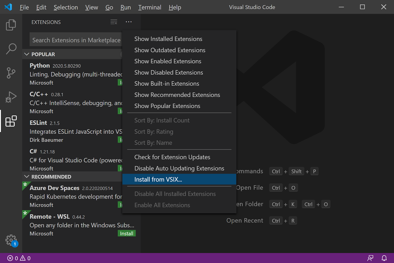 Visual Studio Code Install from VSIX menu item