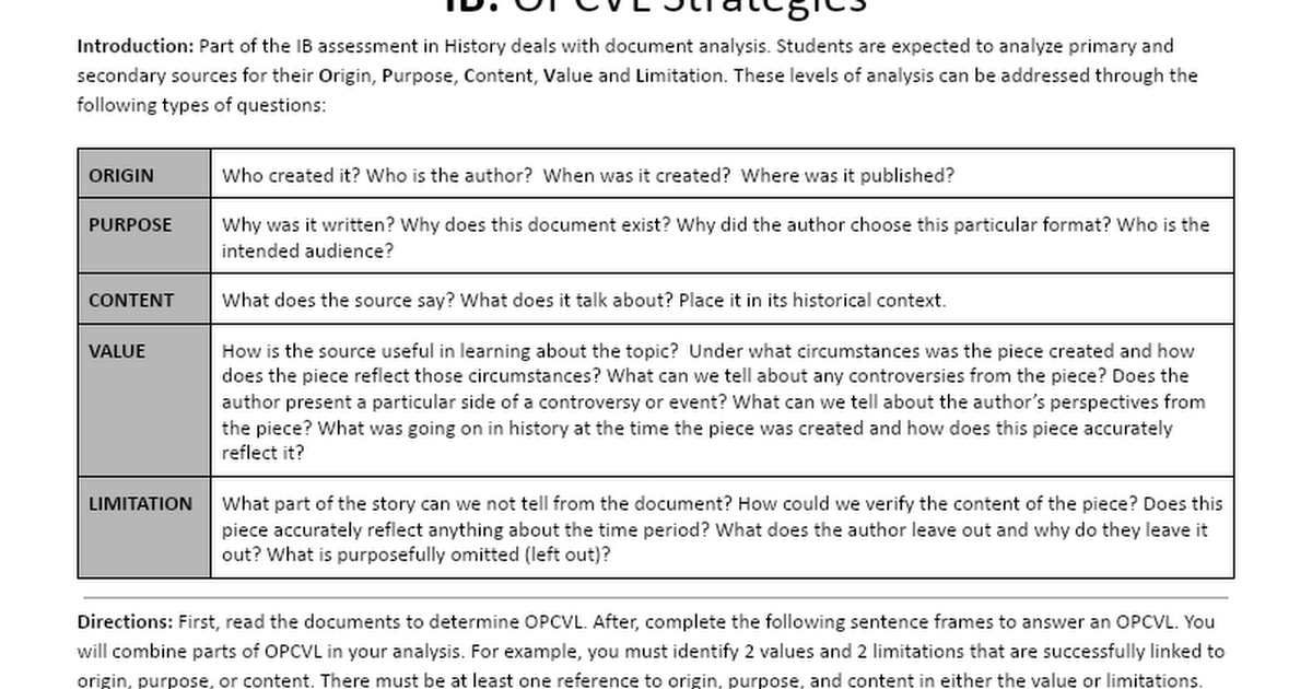 OPCVL Worksheet Google Docs – Written Document Analysis Worksheet
