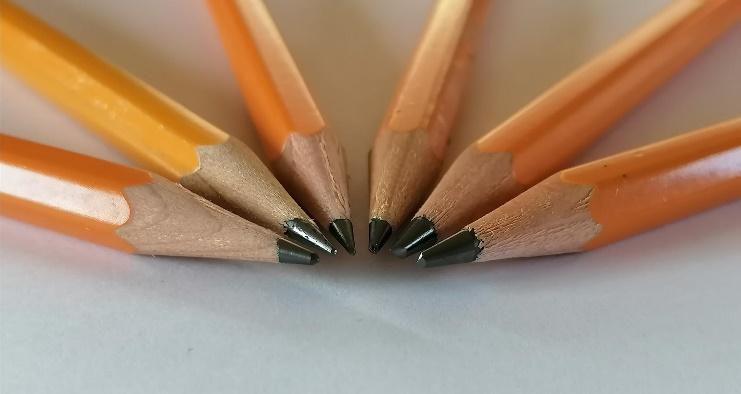 Pencils used - Including 2H, HB, 2B, 4B and 5B