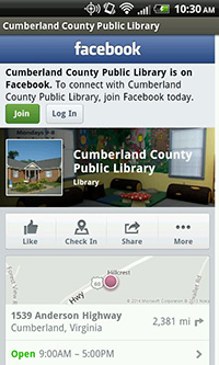 Cumberland County Public Library's Facebook Page