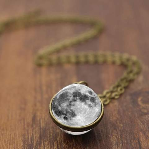 Full Moon 3D Pendant Necklace