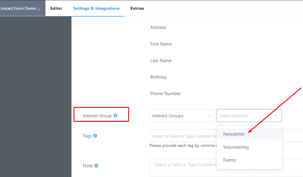 Creating and saving a group in Mailchimp Fluent Forms