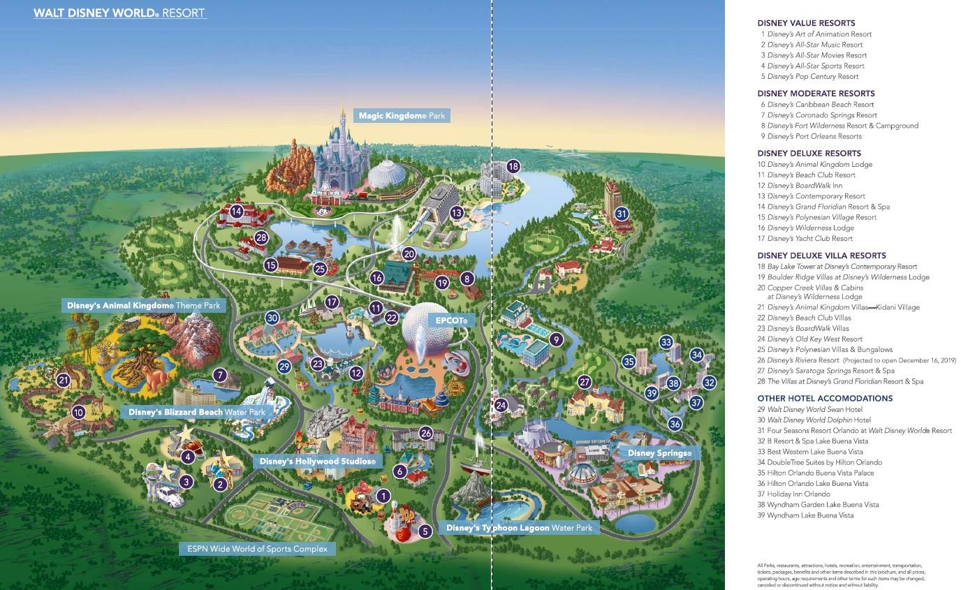 Walt Disney World Resort Map provided by Heyday Travel Company, a free Disney trip planner to help you explore Disney with ease.