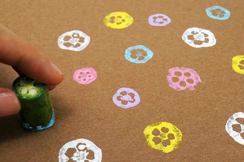 Okra Stamping | Kids' Crafts | Fun Craft Ideas | FirstPalette.com