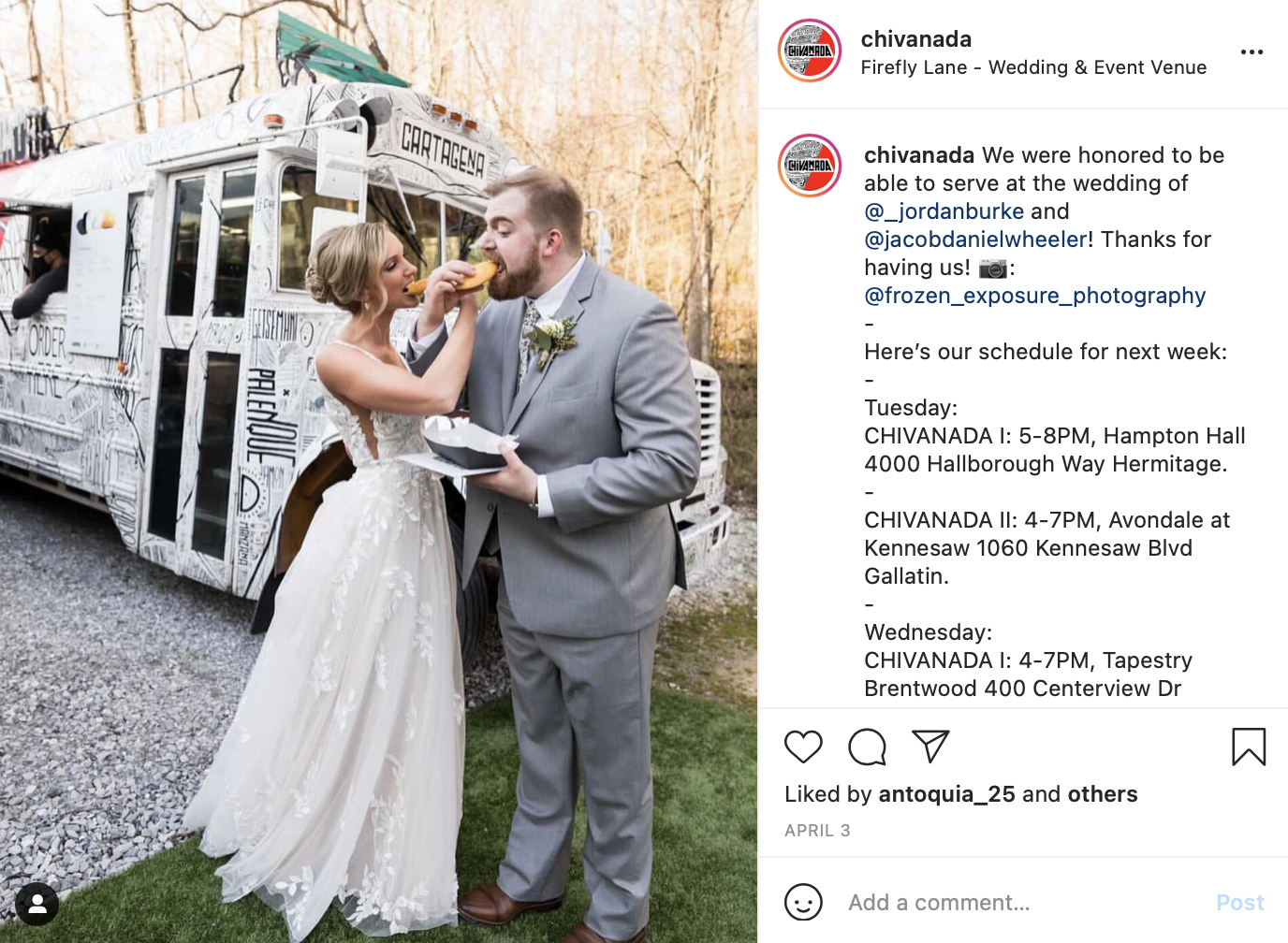 Bride and groom feed each other from a food truck