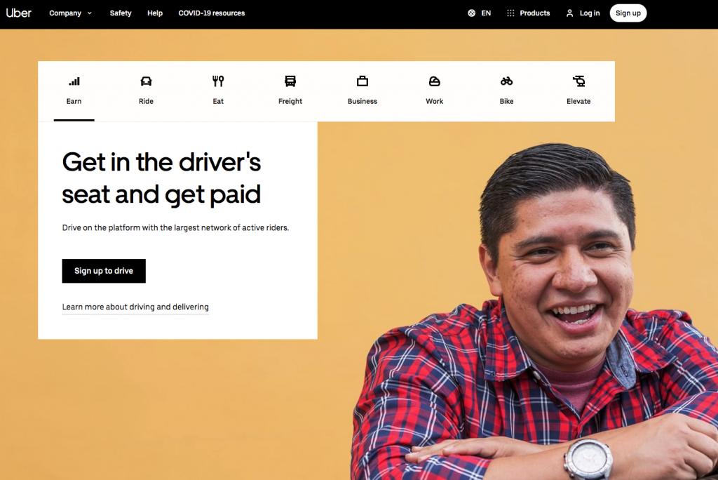 landing page website inhalte uber