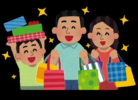たくさん買い物をする家族のイラスト(東南アジア人)