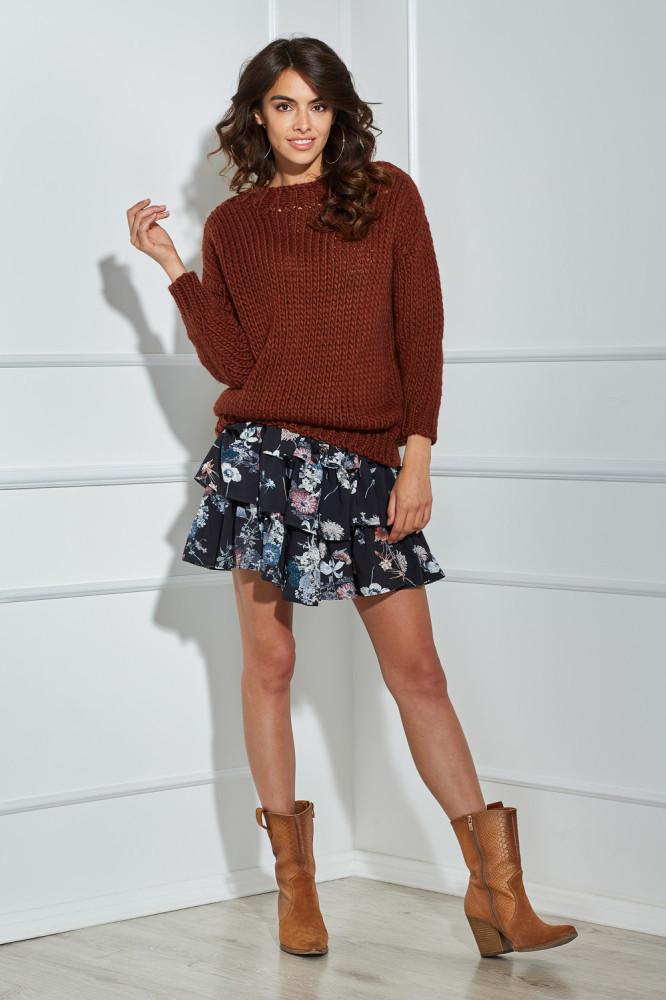 Casualowy sweter typu półgolf z długim rękawem