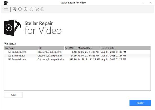 Stellar Repair for Video - add damaged mp4 file