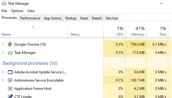 antimalware service executable in task manager