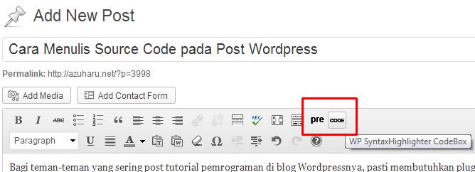 cara menulis source code pada post wordpress