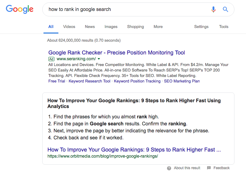 Ranking content in featured snippet