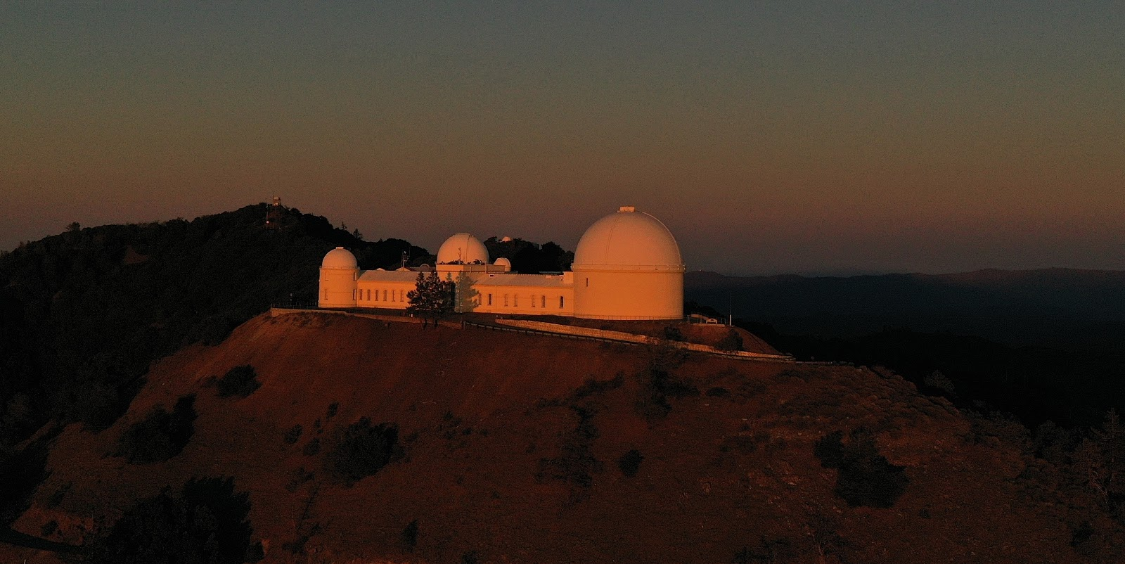 Cycling Top US Bike Climbs - Lick Observatory Mt Hamilton at dusk - drone aerial photo