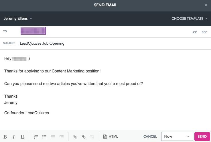 Content Writer Hiring Template