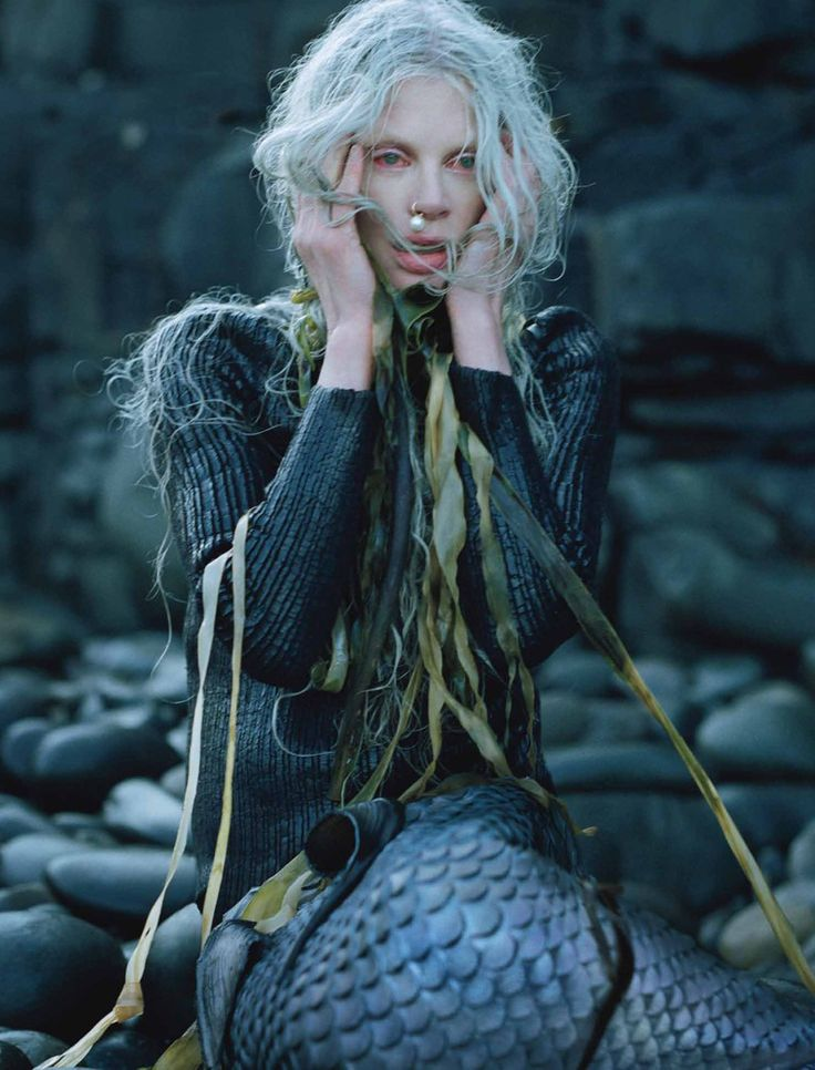 "Kristen Mcmenamy stars as a lost mermaid in on of my FAVORITE editorials, ""Far, Far From Land"" for W December 2013 by photographed by the on..."