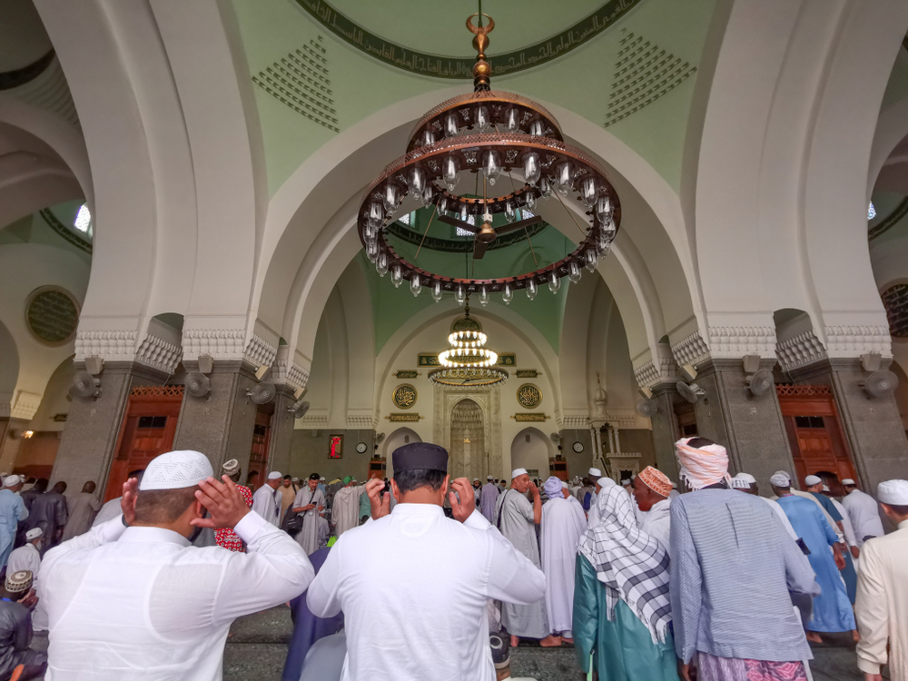 Inside Quba mosque, prayer hall, Madinah, Saudi Arabia