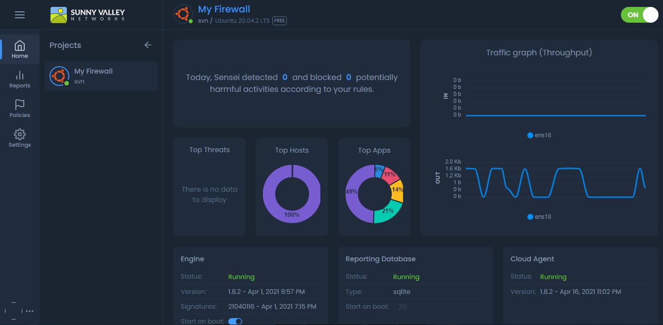 Cloud Central Management Portal Firewall Dashboard