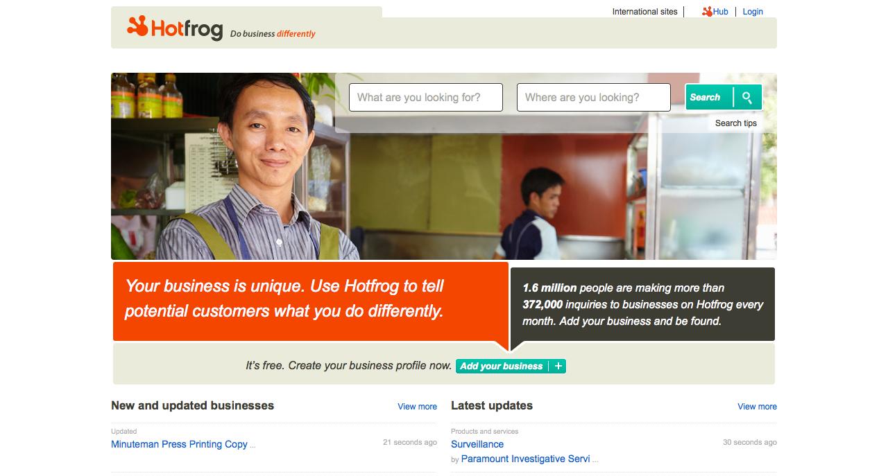 hotfrog homepage