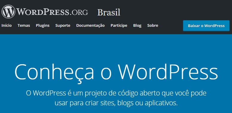 página inicial do WordPress.org Brasil para o usuário criar um blog