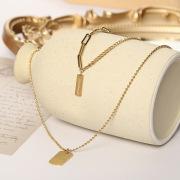 New Trend Double-Layer Titanium Steel Necklace Female Choker Double Pendant Rectangular Multi-Layer Necklace Snake Bones Chain Wholesale