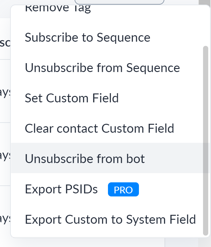 Unsubscribing group from bot