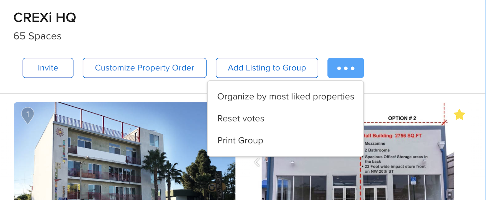 """screenshot of new feature """"print group"""" by clicking the """"..."""" button at the top of your saved property group and click """"Print Group."""""""