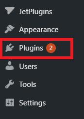 Wordpress dashboard screen shot, Plugins button